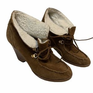 Michael Kors brown wedge leather booties size 7